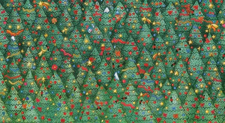 Kako hitro pa ti najdeš ptiča v gozdu božičnih dreves?