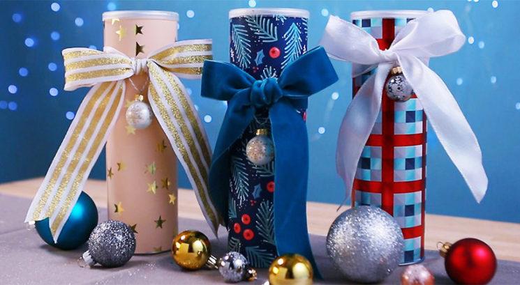Praznični DIY: Kako embalažo od Pringles čipsa spremeniš v darilno škatlo